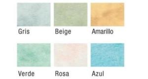 Detalle de los seis colores de papel y cartulina imitación mármol disponibles