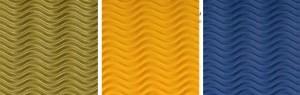 Detalle del cartón ondulado tridimensional en colores oro, amarillo y azul.